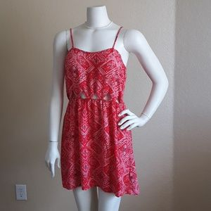 Red Bandana print dress with cutouts